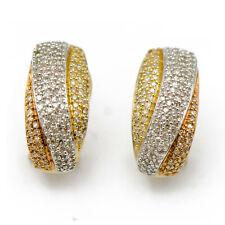 14k Tri-Gold Diamond Earrings