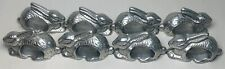 Vintage Set of 8 Pewter Metal Bunny/Rabbits Napkin Rings Holders