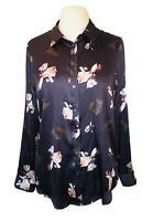 Banana Republic Grey Blouse With Floral Pattern, Size M 12/14