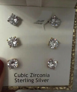 Sterling Silver Round Cut Stud Earrings Cubic Zirconia 3 Pairs Gold & Rose Plate