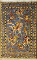 Rugstc 4.5x7 Senneh Pak Persian Blue Rug,Hand-Knotted,Pictorial Hunting,Silk/Woo
