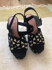Topshop Black bumblebee Embroidered platform heels size 37/4