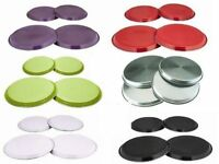 4PC STAINLESS STEEL COLOURED HOB COVER/PROTECTOR METAL RING GAS ELECTRIC COOKER