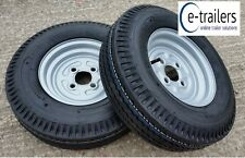 PAIR OF 500 x 10 6ply TRAILER TYRES ON 4 STUD 100mm PCD WHEELS - 437Kg / tyre