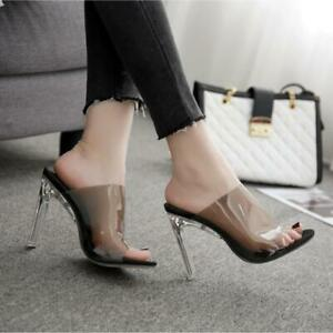 Chic Sexy Ladies Slip On Mules High Heels Clear Open Toe Stiletto Clubwear Shoes