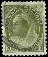 Canada #84 used VF+ 1900 Queen Victoria 20c olive green Numeral CV$160.00