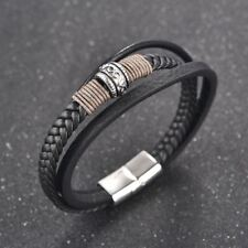 Vintage Braided Leather Cuff Bracelets for Men's Stainless Steel Clasp Bangle