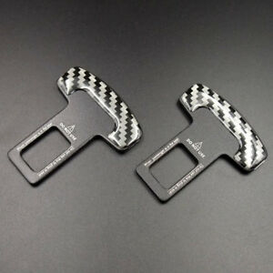 2pcs Universal Seat Belt Buckle Car Safety Alarm Stopper Null Insert Clip Clasp
