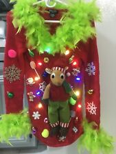 Ugly Christmas Sweater REINDEER with Lights/Boa Women's S