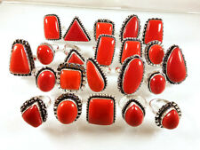 100 PCs Wholesale Lot Red Coral Gemstone Mix Shape Silver Plated Rings Jewlery