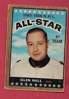 1966-67 OPC  # 126 HAWKS GLEN HALL  ALL STAR GOALIE  CARD