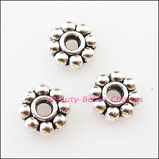 200Pcs Tibetan Silver Tone Tiny Daisy Spacer Beads Charms 4mm