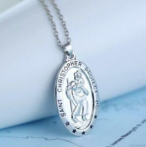 Silver Greek Saint Christopher Pendant Necklace Men Women Necklace Gift UK