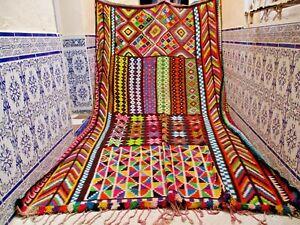 Vintage Moroccan Kilim Area Rug Handmade Azilal Tribal wool Berber Old Carpet