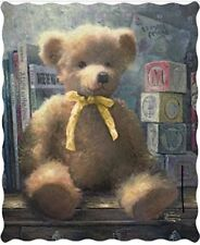 NEW Thomas Kinkade A Trusted Friend Yellow Bow Teddy Bear Quilted Throw Blanket