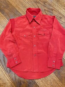 Vtg Wrangler Western Shirt Youth Boys Size Small Red Pearl Snaps USA Embroidered