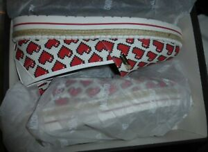 Love Moschino Schuhe Damen Espadrille Canvas Espadrilles Herz Muster 💞 Gr 41
