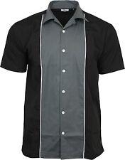 Relco hombre gris y negro Bolos Camisa Rockabilly Retro Años 50 Club Swing