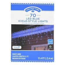 Holiday Time 70 Blue LED Micro Icicle-Style Lights 11 FT Long New