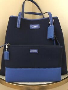 COACH Tote Navy Blue Soft Felt Fabric Patent Leather Trim Matching Clutch Set