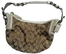 COACH Small White Braided leather/Brown Signature Jacquard Soho Hobo Bag EUC