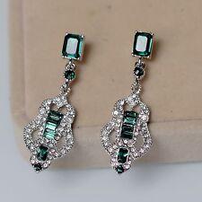 Costume Earrings Studs Silver Chandelier Art Deco Green Emerald Wedding A16