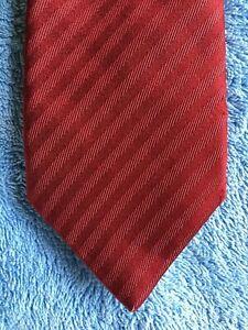 """7"" by HERRINGBONE Quality Neck Tie China made 100% Silk, Red textured stripe"