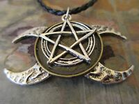 Triple Moon Goddess Silver Pentacle Pendant Black Braided Leather Necklace