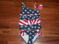 NWT JUSTICE GIRL SWIMSUIT 2 PC TANKINI RED WHITE BLUE STARS STRIPES SIZE 5 NEW
