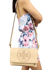 NWT Tory Burch Perforated Logo Fold Over Crossbody Clutch Sand Dune Beige Large