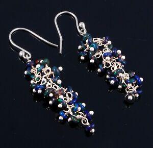 Ethiopian Fire Black Opal Earrings Dangle Cluster Earrings Silver jewelry Gift