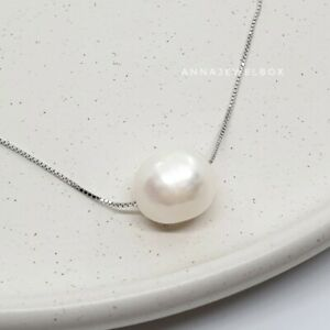 Genuine 925 Sterling Silver Necklace Ivory Pearl Pendant Chain FREE Gift Bag UK