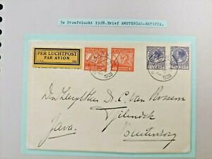 1928 BATAVIA AIRMAIL COVER NEDERLAND TO BUITENZORG DUTCH INDIES B111.6 $0.99