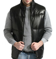 mens black leather bubble vest lambskin padded, zip front, quilted