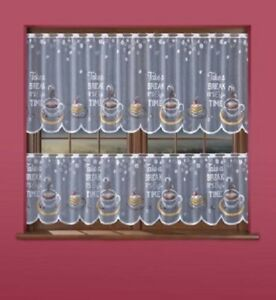 COLOURED CAFE NET CURTAIN-COFFE TIME -TWO DROPS 50 cm / 70 cm-SOLD BY METERS