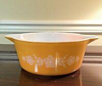 Vintage Pyrex 2.5 Qt. Round Casserole Butterfly Gold Bowl 475-B No Lid