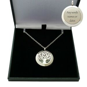 Tree of Life Locket Necklace Personalised with Free Engraving on Back, Gift Box