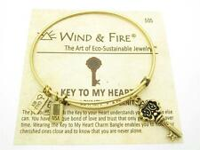 Wind & Fire 3D Key To My Heart Charm Gold Wire Bangle Stackable Bracelet Gift