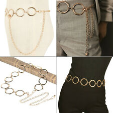 Fashion Vintage Gold Circle Dress Waistband Metal Tassel Body Waist Chain Belt