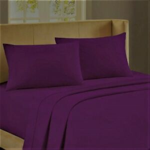 6 PC Sheet Set Egyptian Cotton 1000 Thread Count UK Super King Purple Solid