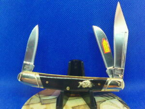 "Pocket Knife Bull Dog Stockman Buffalo Horn Handles 3-3/4"" 440A Stainless Blades"