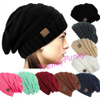 Unisex CC Beanie Slouchy Skully Thick Cap Hat Winter Cable Knit - MANY COLORS