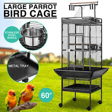 """Large 60"""" Parrot Bird Small Pet Cage Play Top Macaw Finch Conure Stand Ladder"""