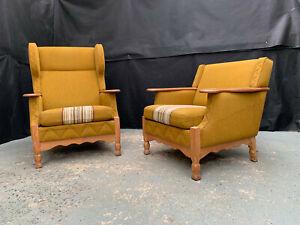 EB1946 Pair of Danish Oak & Khaki Wool Winged & Low Backed Arm Chairs Vintage