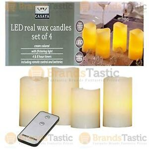 4 X CASAYA FLAMELESS LED REAL WAX CANDLES FLICKERING LIGHT WITH REMOTE & BATTERY