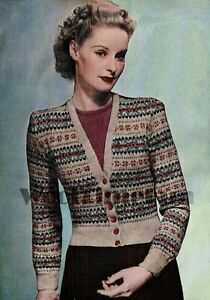 "Knitting Patterns Ladies Vintage 1930s/40s Fair Isle V-Neck Cardigan 36-38"" Bust"
