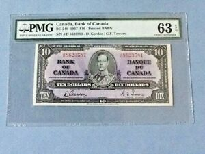 Canada, Bank of Canada 10 Dollars BC-24b Gordon/ Towers 1937  PMG 63 EPQ