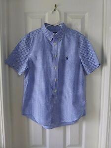 Ralph Lauren Polo Button Up Shirt S/S Blue & White Check Boy's Youth Sz M 10-12