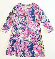 Lilly Pulitzer Womens Long Sleeve Above Knee Coral Print Tunic Dress Medium