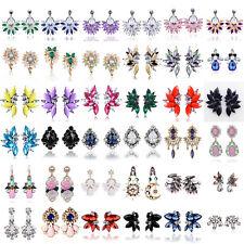 Women Elegant Rhinestone Crystal Ear Stud Resin Flower Earrings Fashion Jewelry